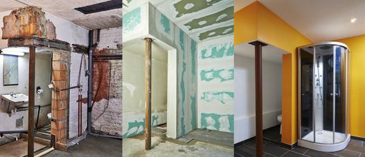mauern w nde und decke die bad sanierung schafft raum f r neue ideen im bad. Black Bedroom Furniture Sets. Home Design Ideas